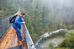 Rainy day at  Capilano Suspension Bridge Park